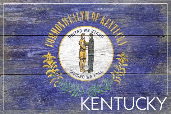 Kentucky State Flag - Barnwood Painting-Lantern Press-Art Print