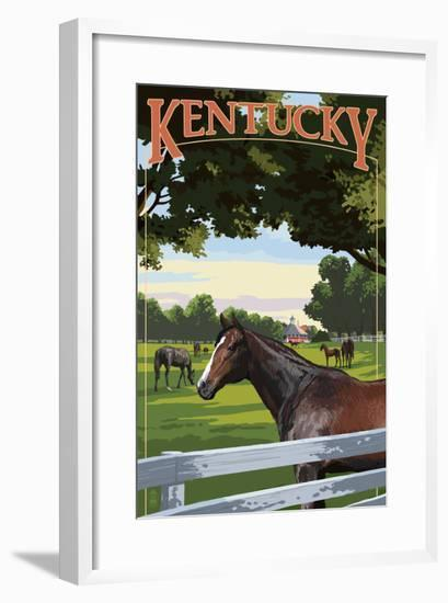 Kentucky - Thoroughbred Horses Farm Scene-Lantern Press-Framed Art Print