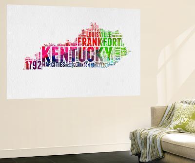 Kentucky Watercolor Word Cloud-NaxArt-Wall Mural