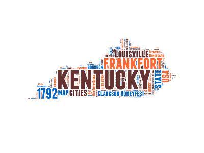 Kentucky Word Cloud Map-NaxArt-Art Print