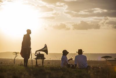 Kenya, Mara North Conservancy. a Couple Enjoy a Sundowner in the Mara-Niels Van Gijn-Photographic Print
