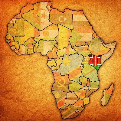 Kenya on Actual Map of Africa-michal812-Art Print