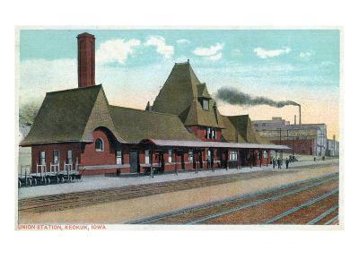 Keokuk, Iowa - Exterior View of Union Station-Lantern Press-Art Print