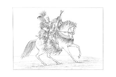 Keokuk on Horseback, Rock Island, Upper Mississippi, 1841-Myers and Co-Giclee Print