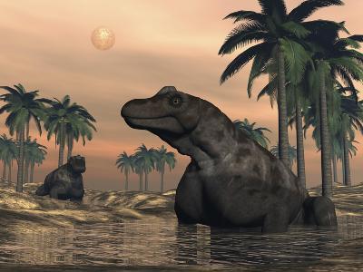 Keratocephalus Dinosaurs in a Small Lake at Sunset-Stocktrek Images-Art Print