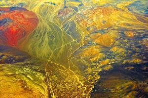 Aerial view of land pattern on Atacama Desert, Chile by Keren Su
