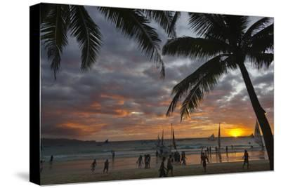 Beach with Palm Trees at Sunset, Boracay Island, Aklan Province, Philippines