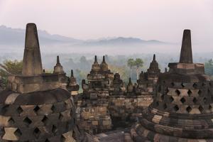 Borobudur at Dawn, UNESCO World Heritage Site, Java, Indonesia by Keren Su