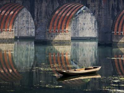 Bridge and Boat on Wuyang River, Zhenyuan, Guizhou, China by Keren Su