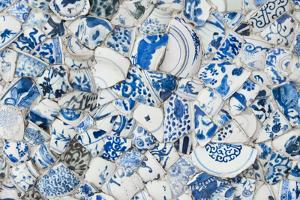 Ceiling decorated with blue and white chinaware in the Porcelain House, Tianjin, China by Keren Su