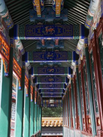 China, Beijing, Summer Palace, Colorfully Painted Long Corridor by Keren Su