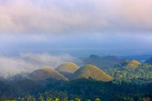 Chocolate Hills in Morning Mist, Bohol Island, Philippines by Keren Su