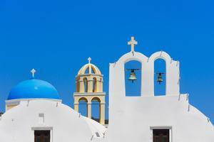 Church on the coast of Aegean Sea. Oia, Santorini Island, Greece. by Keren Su