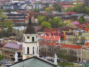 Cityscape Dominated by Cathedral Bell Tower, Vilnius, Lithuania by Keren Su