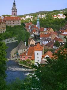 Cityscape of Cesky Krumlov, Vltava River, Czech Republic by Keren Su