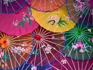 Colorful Silk Umbrellas, China by Keren Su