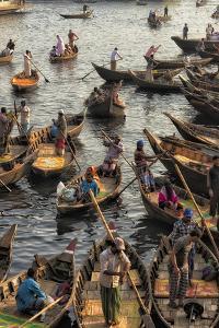 Ferry boats on Buriganga River at Sadarghat (City Wharf), Dhaka River Port, Dhaka, Bangladesh by Keren Su
