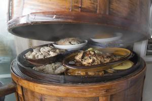 Food in bamboo steamer, Pengzhen, Chengdu, Sichuan Province, China by Keren Su