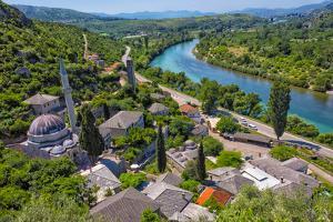 Hajji Alija Mosque overlooking the Neretva River, Pocitelj, Bosnia and Herzegovina by Keren Su