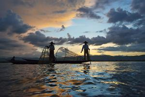 Intha Fisherman Rowing at Sunset on Inle Lake, Shan State, Myanmar by Keren Su