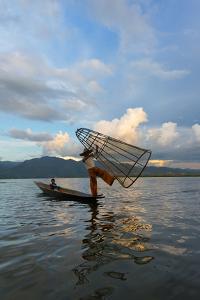 Intha Fisherman Rowing at Sunset on Inle Lake, Shan State, Myanmar by Keren Su