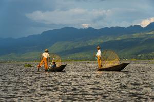 Intha Fisherman Rowing Boat with Leg on Inle Lake, Shan State, Myanmar by Keren Su