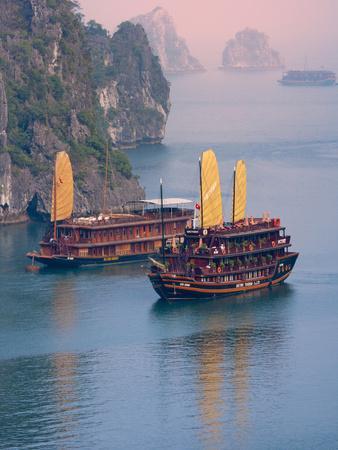 Junk Boat and Karst Islands in Halong Bay, Vietnam