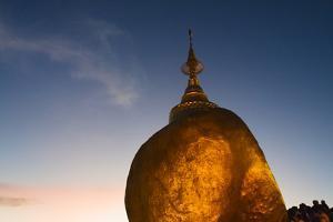 Kyaiktiyo Pagoda at Sunset, Mon State, Myanmar by Keren Su