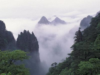 Landscape of Mt. Huangshan (Yellow Mountain) in Mist, China