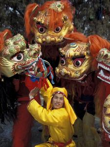 Lion Dance Celebrating Chinese New Year, Beijing, China by Keren Su