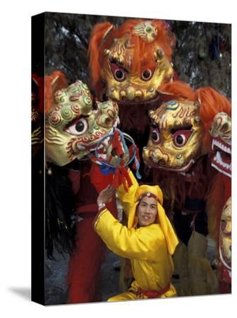 Lion Dance Celebrating Chinese New Year, Beijing, China