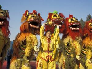 Lion dance performance celebrating Chinese New Year Beijing China - MR by Keren Su