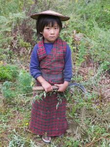 Little Girl Carrying Sickle, Bumthang, Bhutan by Keren Su