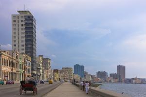 Malecon Street Along the Waterfront, Havana, UNESCO World Heritage Site, Cuba by Keren Su