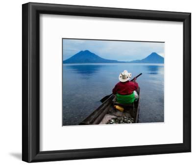 Man on Canoe in Lake Atitlan, Volcanoes of Toliman and San Pedro Pana Behind, Guatemala