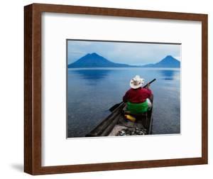 Man on Canoe in Lake Atitlan, Volcanoes of Toliman and San Pedro Pana Behind, Guatemala by Keren Su