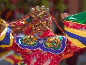 Mask Dance Celebrating Tshechu Festival at Wangdue Phodrang Dzong, Wangdi, Bhutan by Keren Su