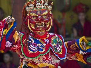 Mask Dance Performance at Tshechu Festival, Punakha Dzong, Punakha, Bhutan by Keren Su