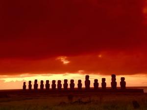 Moai Silhouette, Ahu Tongariki, Easter Island, Chile by Keren Su