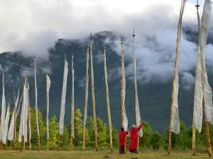 Monks with Praying Flags, Phobjikha Valley, Gangtey Village, Bhutan by Keren Su