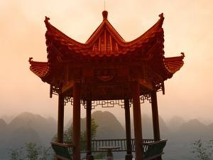 Pavilion Overlooking Karst Hills in Mist by Keren Su
