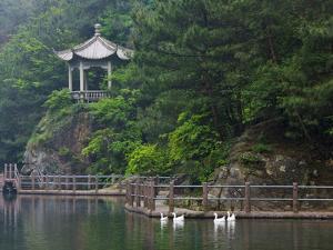 Pavilion with Lake in the Mountain, Tiantai Mountain, Zhejiang Province, China by Keren Su
