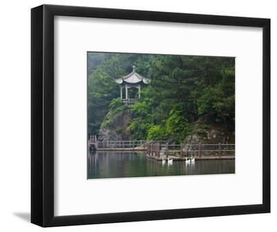 Pavilion with Lake in the Mountain, Tiantai Mountain, Zhejiang Province, China