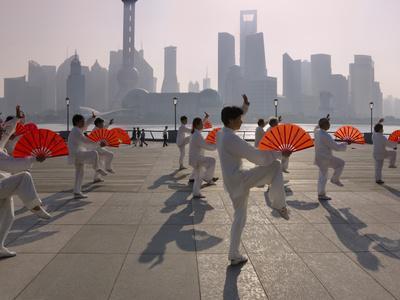 People Practicing Taiji and Pudong Skyline, Shanghai, China