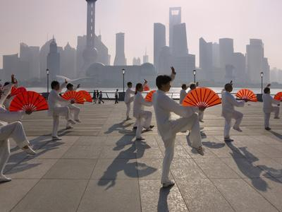 People Practicing Taiji and Pudong Skyline, Shanghai, China