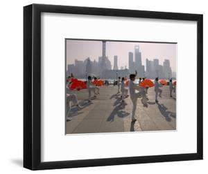 People Practicing Taiji and Pudong Skyline, Shanghai, China by Keren Su
