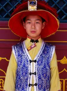 Portrait of Boy in Traditional Manchurian Costume, Chengde, China by Keren Su