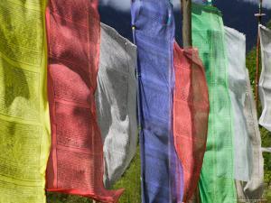 Praying Flags and Farmlands at Pepe La Pass, Phobjikha Valley, Gangtey, Bhutan by Keren Su