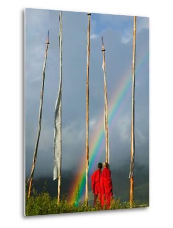 Rainbow and Monks with Praying Flags, Phobjikha Valley, Gangtey Village, Bhutan