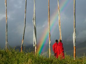 Rainbow and Monks with Praying Flags, Phobjikha Valley, Gangtey Village, Bhutan by Keren Su